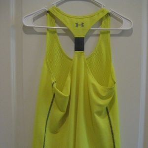 """Under Armour Tops - SOLD: Under Armour Neon Yellow """"RUN"""" Racerback"""